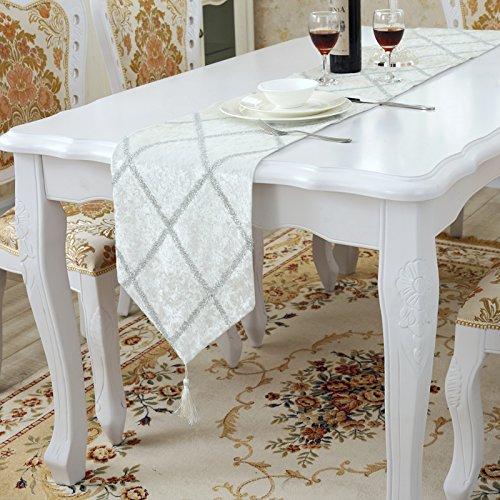 Aothpher Classic Tassel Elegant Glitter Table Runner Bright