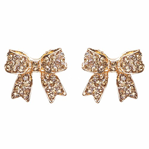 Fashion Crystal Pave Bow Ribbon Stud Earrings (Gold Ribbon Earrings)