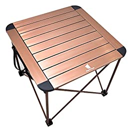 Geertop Camping Side Table, Portable Camp Roll Up Table Square Folding Table Aluminum Lightweight Table for Picnic, Beach, Boat, BBQ, Compact Outdoor Kitchen Dining Cooking Backpacking Hiking Table