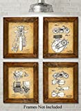 Original Indian Motorcycle Patent Art Prints - Set of Four Photos (8x10) Unframed - Great Gift for Motor Cycle Riders