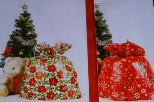 (Set of 2 Giant Christmas Gift Bags Gift Sacks Red Poinsettia & Red Snowflake Design 36