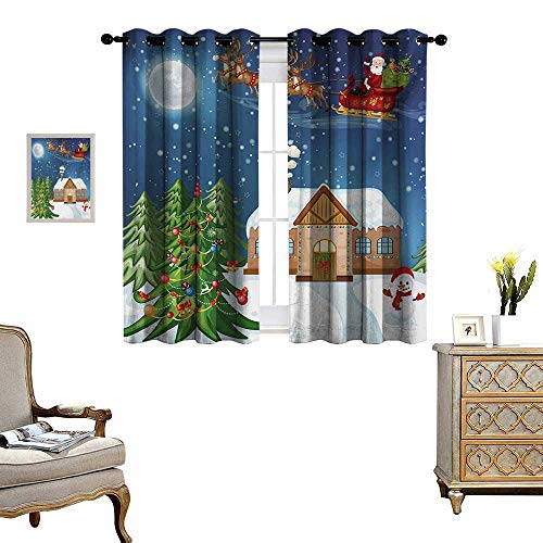 WinfreyDecor Christmas Thermal Insulating Blackout Curtain Classical Xmas Scenery Santa Delivering Presents with Rudolf The Red Nosed Reindeer Patterned Drape for Glass Door W63 x L63 Multi