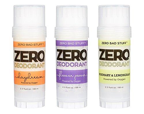 ZERO Deodorant – Oxygen Powered De-Stinkerizer – Long Lasting, All Natural, Baking Soda Free, Aluminum Free, Safe for Sensitive Skin, Safe for Kids, Shea Butter Solid (Top Seller 3-Pack)