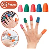 25 Pieces Silicone Finger Protectors, Rubber Fingers Tip for Money Counting Non - Slip Rubber Gel, Finger Han Tip Protector for All Your Counting, Filing, Sorting tasks, Blue Orange Green Red Pink