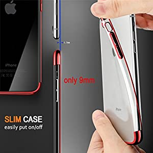 iPhone 7 Plus Case, iPhone 8 Plus Case, COOLQO [Support Wireless Charging] Ultra-thin Crystal Clear Soft TPU Bumper Slim Electroplating Transparent Protective Cover & Skin For Apple 5.5 inch (Red)