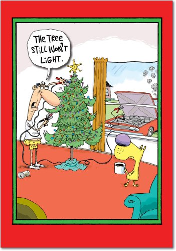 (12 'Tree Will Not Start' Boxed Christmas Cards with Envelopes 4.63 x 6.75 inch, Funny Christmas Tree Cartoon Holiday Notes, Hilarious Dog and Man Christmas Notes, Silly Christmas Stationery B1879)