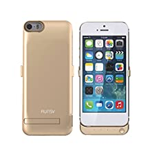RUNSY iPhone SE Battery Case, 4200mAh Rechargeable Extended Battery Charging Case for iPhone SE / 5S / 5, External Battery Charger Case, Backup Power Bank Case (Gold)