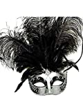 Venetian Style Mask with Feather in Silver Pattern