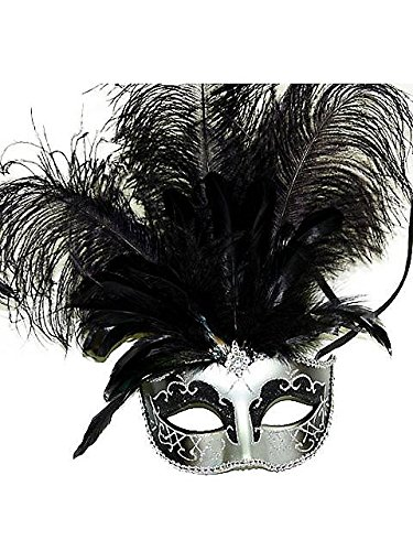 Venetian Style Mask with Feather in Silver Pattern (Black/Silver)