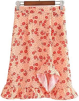 QYYDBSQ Mujer Dulce con Volantes Estampado Floral Falda Asimétrica ...
