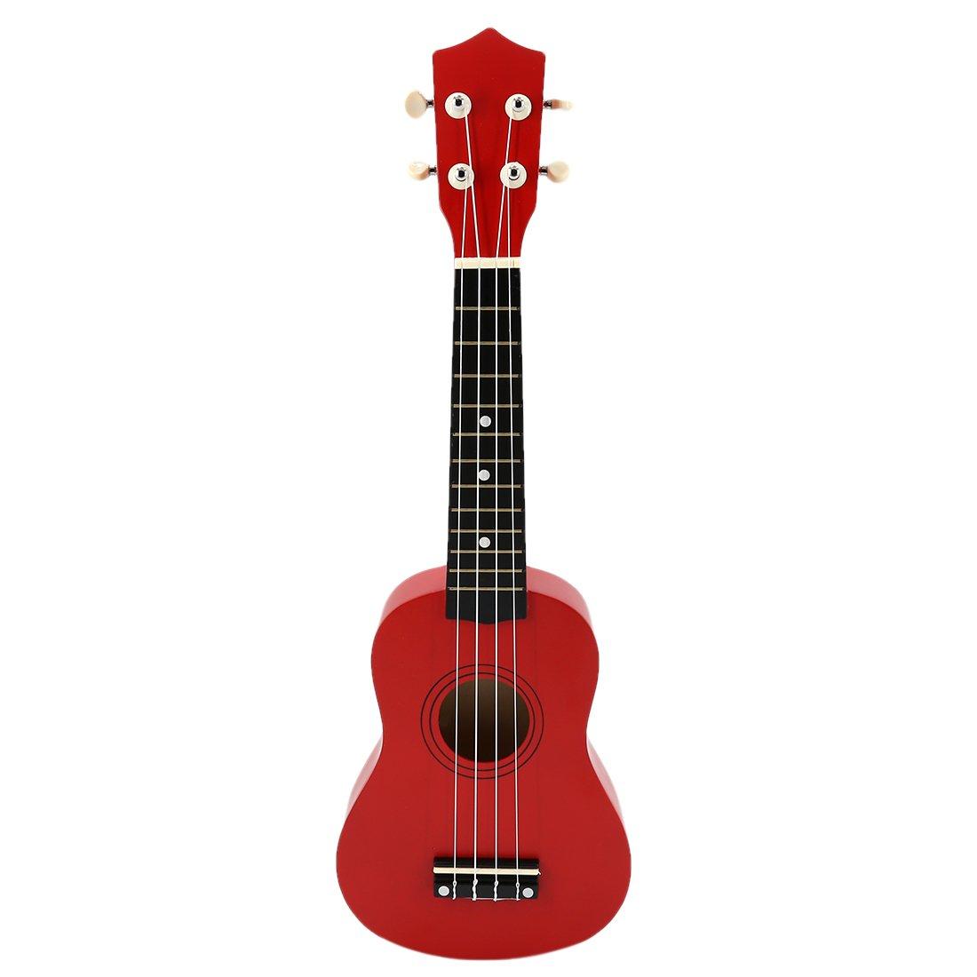 Ukulele, WOLFBUSH 21 Inches Environmental Children Guitar Wooden Ukulele For Adults Kids - Red by WOLFBUSH