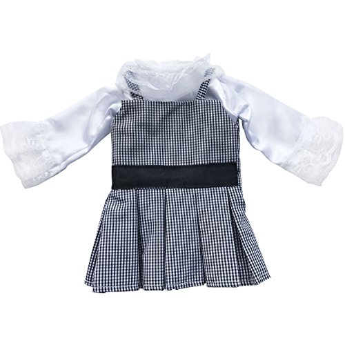 Lattice Belt - AOFUL Doll Clothes, Long Sleeve Lace Flower Shirt Lattice Stripe Braces Skirt With Waist Belt 2 Pieces Suits Outfit Fits 18