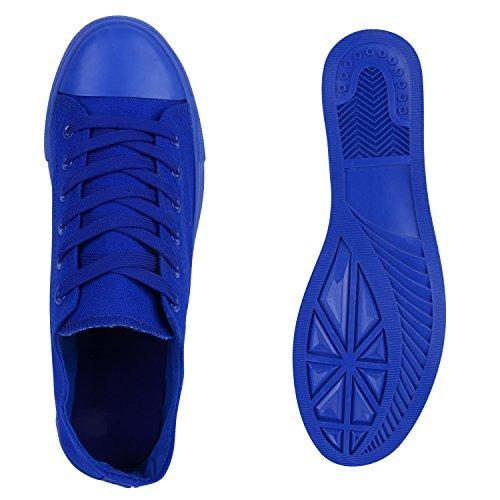Herren Sneakers Freizeitschuhe Sportschuhe Schnürer Stoffschuhe Fitness Streetstyle viele Farben Flandell Blau Blau