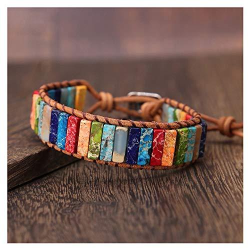 Chakra Bracelet, 7 Chakra Boho Woven Bracelet Handmade Imperial Bangles Adjustable Weave Yoga Bracelet Jewelry for Women Sister Mother's Day/Anniversary/Birthday Girl Gift (Multicolor)