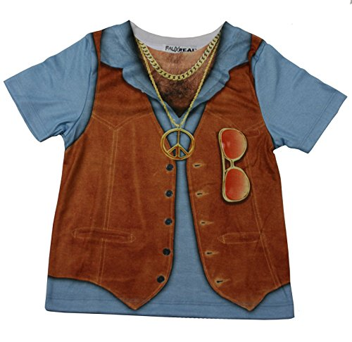 Faux Real Toddler Boys 1970s Hairy Chest Costume Tee Shirt [F115360T] -