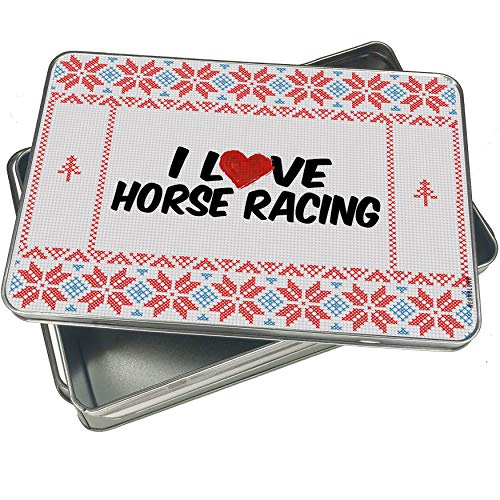 NEONBLOND Cookie Tin Box I Love Horse Racing Vintage Christmas Pattern -