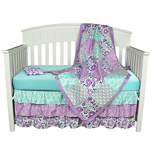 Zoe Floral Aqua and Purple Baby Crib Bedding - 11 Piece Sleep Essentials Set