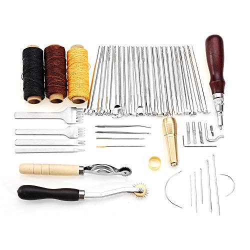 - Leather Craft Tools Punch Kit, 48 Pieces Leather Craft Hand Tools Punch Kit with Instructions for Hand Sewing StitchingCarving Working Stamping Set and Saddle Making (Multicolor)