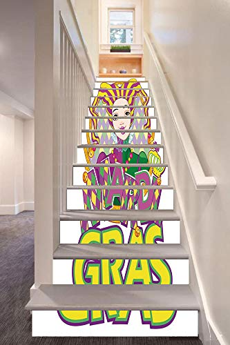 anselc05ls Mardi Gras 3D Stair Riser Stickers Removable Wall Murals Stickers,Carnival Girl in Harlequin Costume and Hat Cartoon Fat Tuesday Theme,for Home Decor 39.3