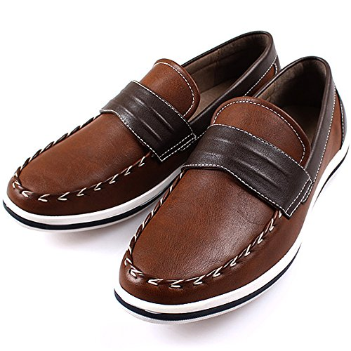 Polytec New Casual Loafer on Classic Basic Men Shoes Sneakers Dress Brown Fashion Slip qCRCdw