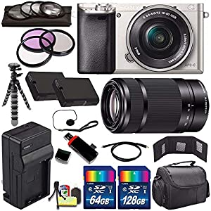 Sony Alpha a6000 Mirrorless Digital Camera with 16-50mm Lens (Silver) + Sony E 55-210mm f/4.5-6.3 OSS E-Mount Lens 196GB Bundle 27 - International Version (No Warranty)