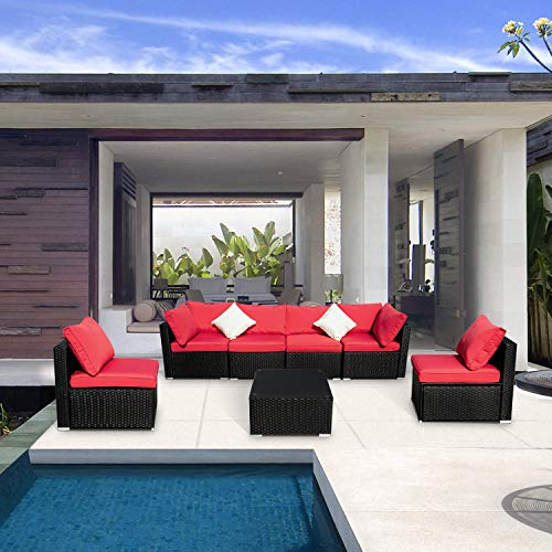 Leisurelife 7 Pcs Outdoor Patio Furniture Set Red, Sectional Sofa with Cushion and Glass Coffee Table, PE, Rattan (Outdoor Furniture Red)
