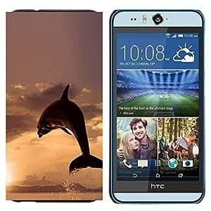 EJOOY---Cubierta de la caja de protección para la piel dura ** HTC Desire Eye M910x ** --DELFÍN SPLASH PUESTA DEL SOL