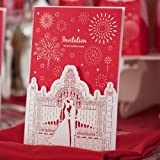 Wishmade Wedding Invitations Cards, Red, 100 Pieces, CW005, Customized Printing