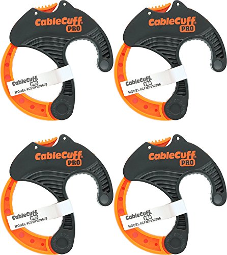 Cable Cuff PRO (4 Pack: 4x Medium 2 Inch Diameter) Adjustable, Reusable, Cable Tie Replacements for Extension Cords or Electronics