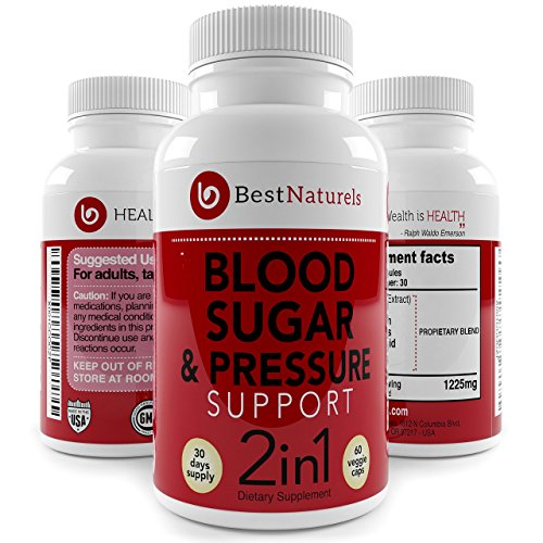 2-in-1 Blood Pressure + Blood Sugar Support Supplement - Promotes Healthy Blood Pressure -Glucose + Cholesterol Levels - Organic Blend of UltraCur (Turmeric Extract) Moringa Cinnamon Alpha Lipoic ()