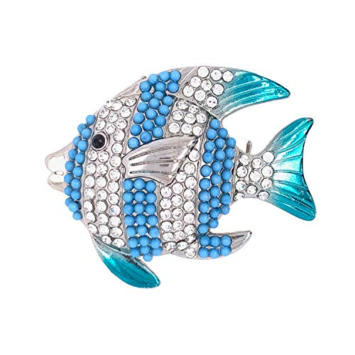 Jewelry Made By Me Coastal Blue Striped Fish Silver Brooch ()
