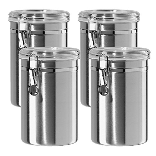 Canister Set Stainless Steel - Beautiful Canisters for Kitchen Counter, Small 32 fluid oz, with Airtight Lids, Food Storage Container, Tea Coffee Sugar Canisters by SilverOnyx - Small 32oz - 4 Piece