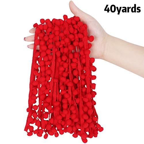 40 Yards Mini Pom Pom Trim Pom Pom Ribbon Ball Ribbon Fabric Ball Fringe Ribbon for DIY Sewing Decoration, Ball Size 0.47 inch (Red)
