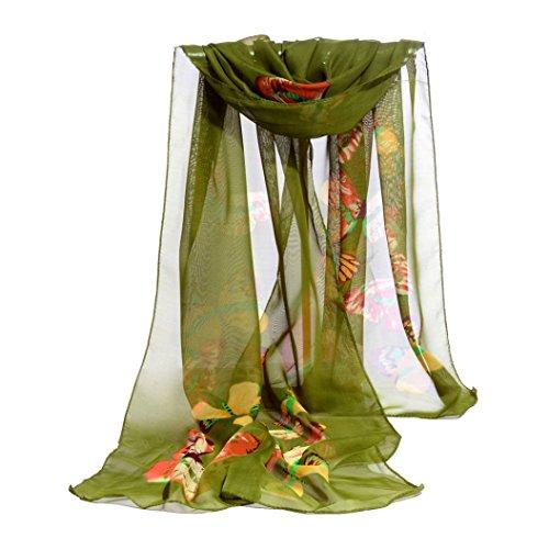 Butterflies Gift Wrap - Scarf,Han Shi Women Fashion Butterfly Print Long Scarves Chiffon Soft Voile Wrap Shawl (L, Green)