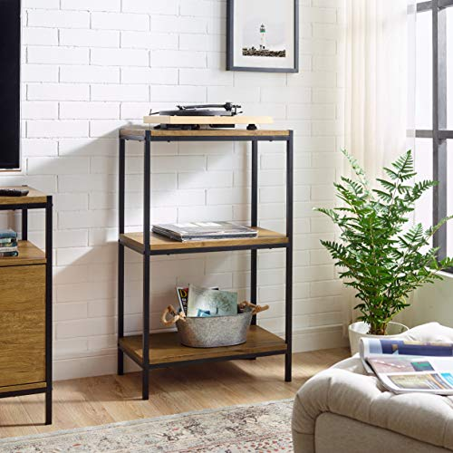 - 3 Tier Bookshelf by Aaron Furniture Designs Rustic Industrial Bookcase with Modern Open Shelves | Oak Brown Wood Look Accent Furniture Metal Frame | Storage Rack Shelf Unit | Bathroom | Living Room