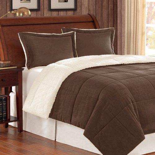 Madison Park Jackson Corduroy Reverse to Berber Comforter Mini Set, King, Chocolate