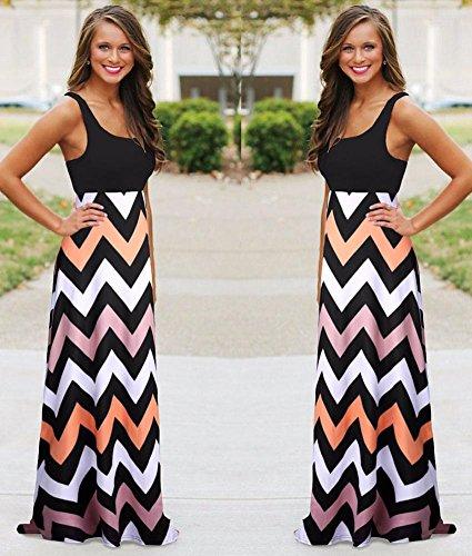 Kufv® Women Colorful Sleeveless Wave Striped Full Length Summer Bohemia Beach Dress