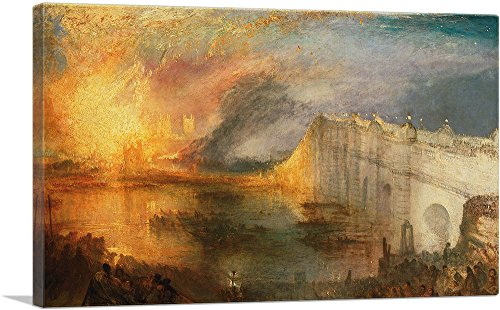 ARTCANVAS Burning of The Houses of Lords and Commons 1834 Canvas Art Print by J. M. W. Turner- 18