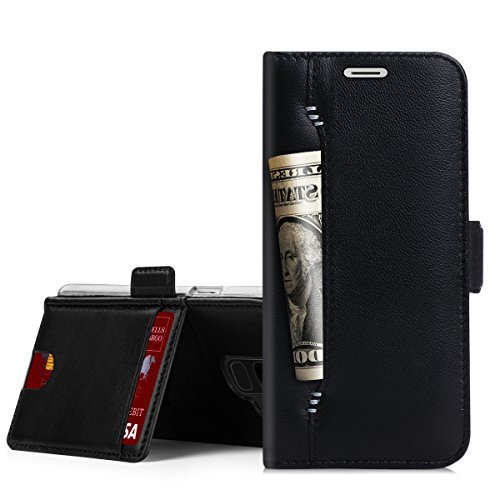 Galaxy S9 Case,Galaxy S9 Wallet Case, WWW [Genuine Lambskin Leather] Wallet Case with [Kickstand] [Card Slots] and [Cash Holder] for Samsung Galaxy S9