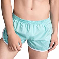 Funic Mens Swimming Shorts Daily Beach Underwear Boxer Briefs Shorts Bulge Pouch Underpants Solid Color