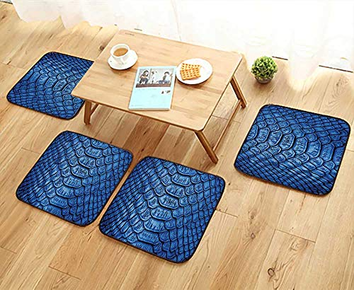 Colored Luxury Crate Mat - Elastic Cushions Chairs Collection Colored Snake Skin Pattern Alligator Fancy Luxury Leather Clothing Artwork Blue for Living Rooms W29.5 x L29.5/4PCS Set