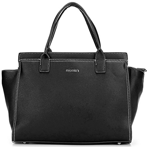 SOSATCHEL Women's Medium Satchel Pu Lather Tote Shoulder Bag Ladies Handbag Black