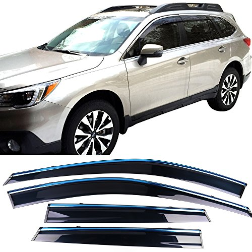(Window Visor Fits 2015-2018 Subaru Outback | Injection PC Window Visor Rain Guard Shade 4PC by IKON MOTORSPORTS | 2016 2017)