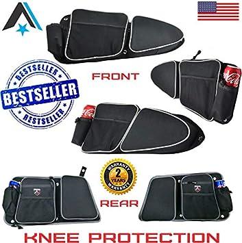 Arsenal Pro RZR 4 Door Bag Kit for Polaris 4 Door RZR XP 1000 Turbo XP4 900XC S900 4 PCS Off road Side Storage Door Bags with Knee Pad Protection