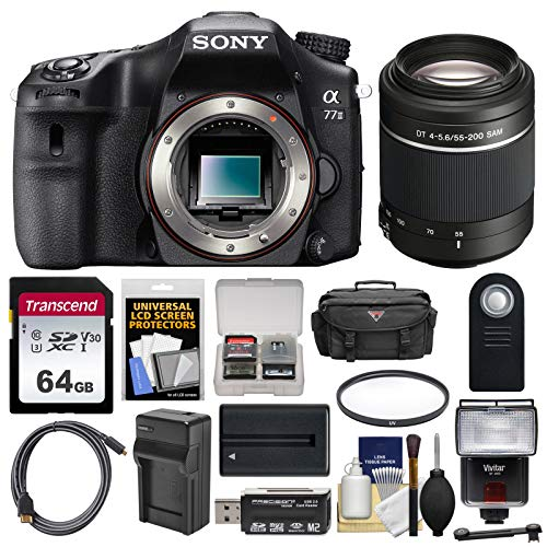 Sony Alpha A77 II Wi-Fi Digital SLR Camera Body with 55-200mm Lens + 64GB Card + Battery & Charger + Case + Flash + Kit