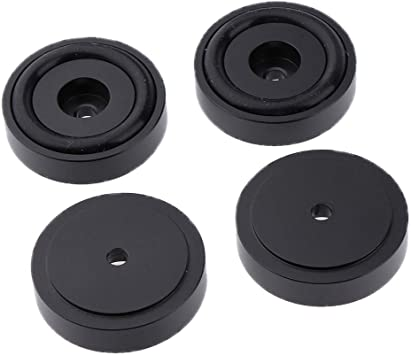 4 Unids Aislamiento Ronda CD Player Audio Altavoz Pies Pad Stand Gold, 30 x 10mm - Negro