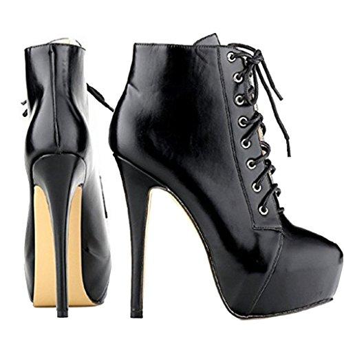 EKS Damen Schuhband High Heels Stilett Plattform Stiefele Schwarz-Matte