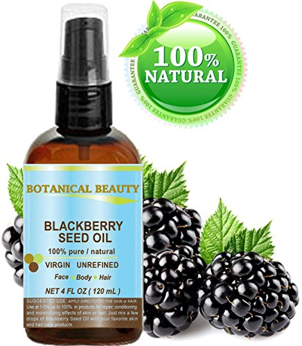 """BLACKBERRY SEED OIL 100% Pure / Natural / Virgin/ Unrefined. Cold Pressed / Undiluted Carrier Oil. 4 fl.oz -120 ml. """"""""One of the richest natural sources of vitamin C and a remarkable and stable source of omega 3 and 6, vitamins E and minerals. Strong Antioxidant."""" Skin, Body, Hair Care."""