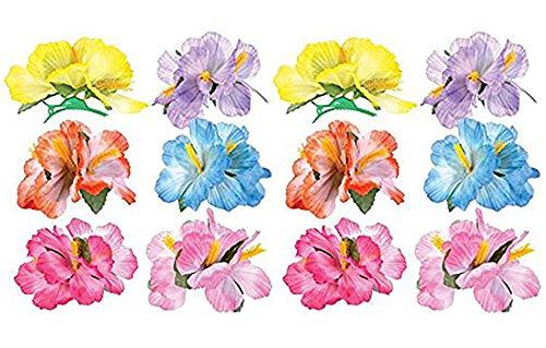 Kicko Hawaiian Flower Hair Clip, 12 Tropical Hibiscus Luau Hulahair Clip - Cool and Fun Assorted Luau Floral Hair Clip - Novelty and Gag Toys, Party Favor, Bag Stuffer, Ideas