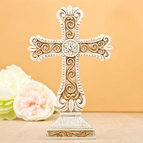 18 Antique Design Cross Statues in Ivory & Matte Gold by Fashioncraft
